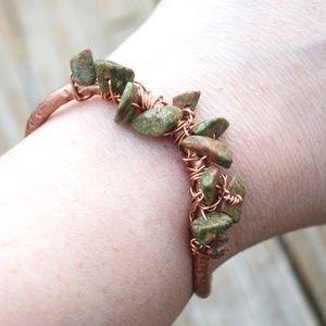 Unakite Copper Cuff Wire Wrapped Bracelet Reiki